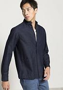 Denim overshirt made of organic cotton with linen