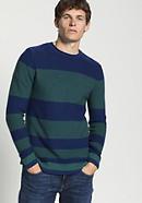 Herren Streifen-Pullover aus Schurwolle mit Kaschmir