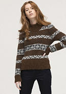 Jacquard sweater made of alpaca with pima cotton
