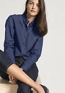 Jeansbluse aus Bio-Baumwolle mit Leinen
