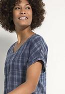 Karo-Bluse aus Leinen mit Baumwolle