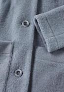 Short wool fleece coat made from pure organic merino wool