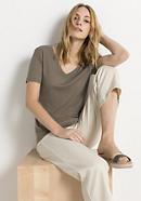 V-Shirt aus Bio-Baumwolle mit Seide und Leinen