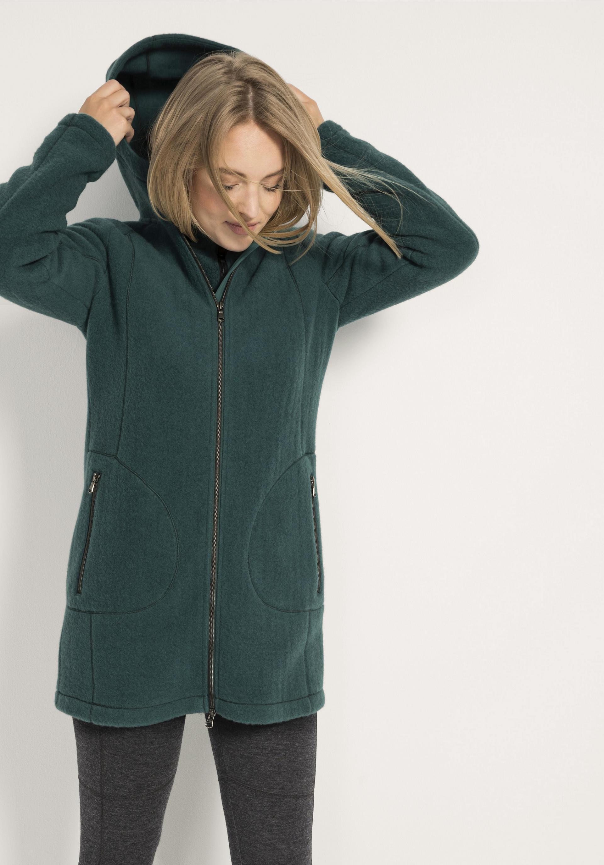 billigsten Verkauf High Fashion tolle Passform Damen Wollfleece-Jacke aus reiner Bio-Schurwolle von hessnatur