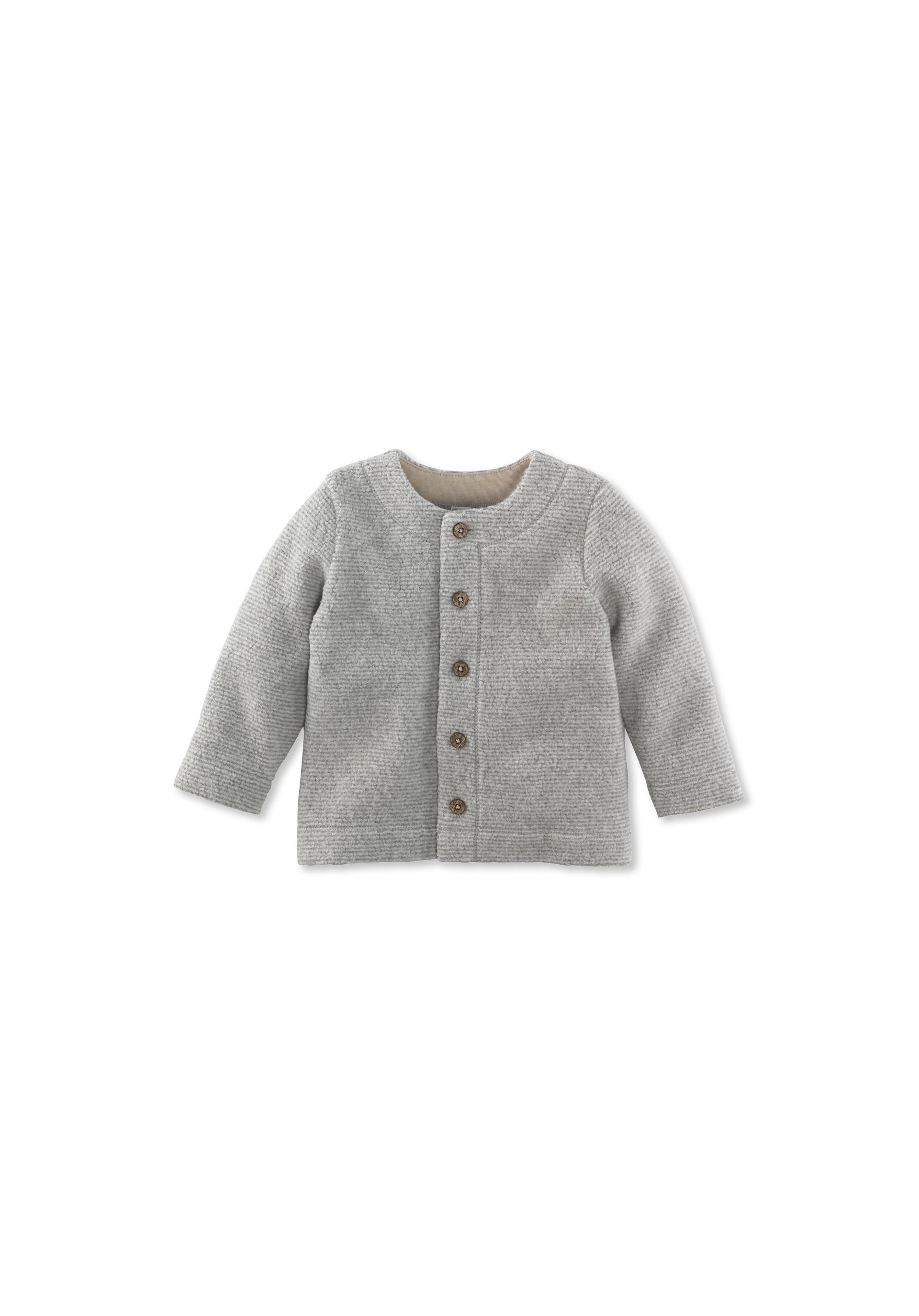 Geringelte Fleece Jacke aus reiner Bio Baumwolle von hessnatur