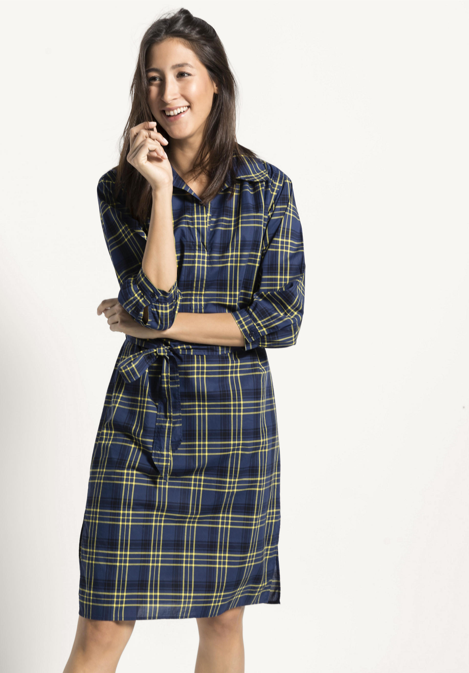 Karo Kleid aus reiner Bio Baumwolle von hessnatur
