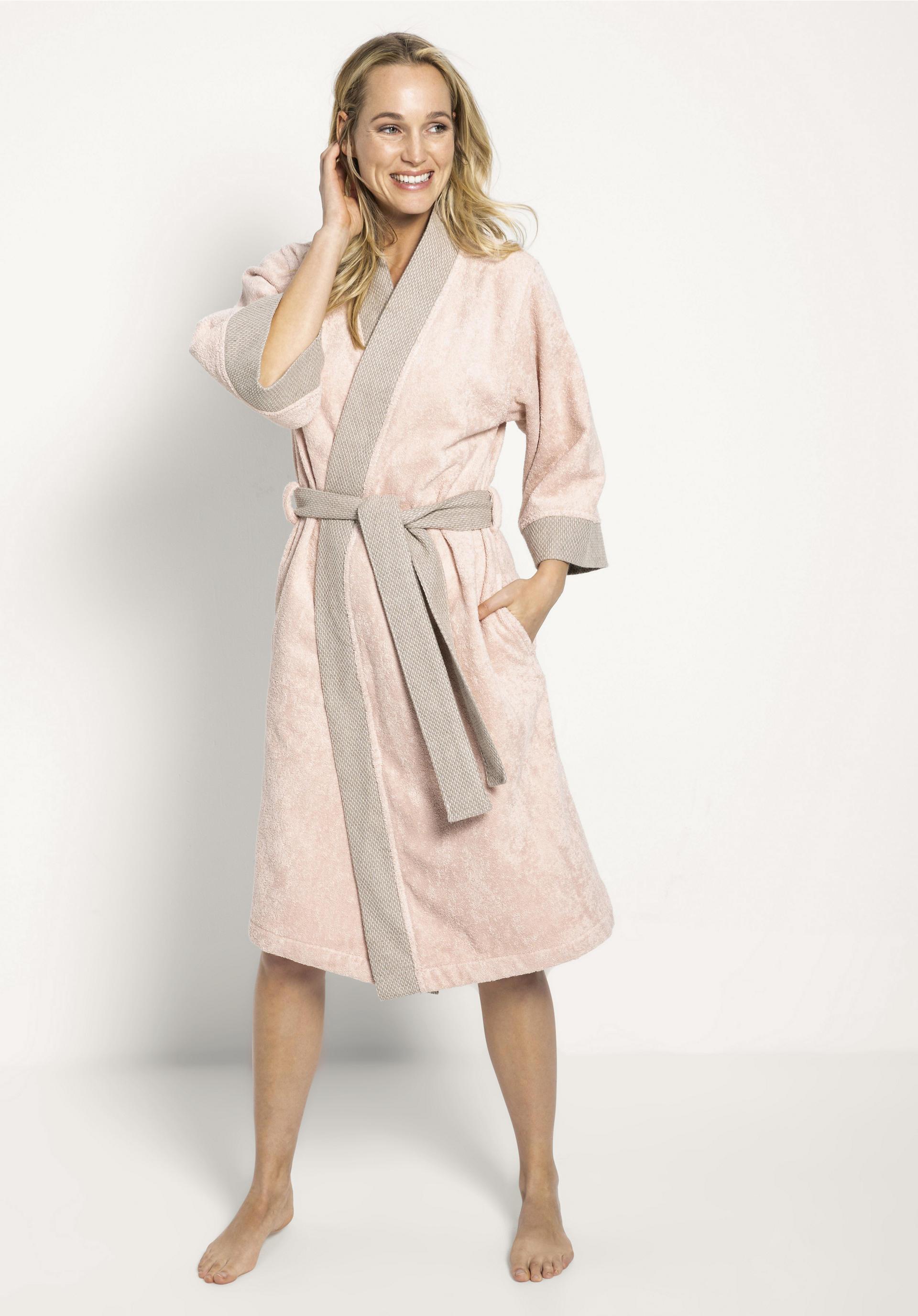 Dauerhafter Service Rabatt-Sammlung online Kimono-Bademantel aus Bio-Baumwolle mit Leinen in der Bordüre von hessnatur