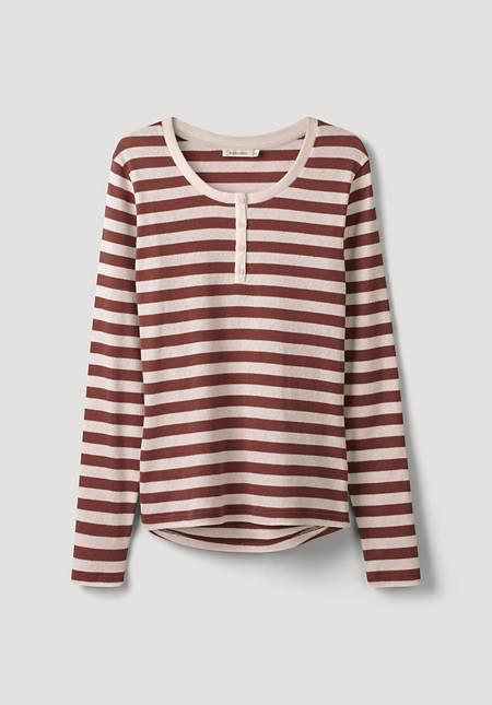 Ajour henley shirt made of organic cotton
