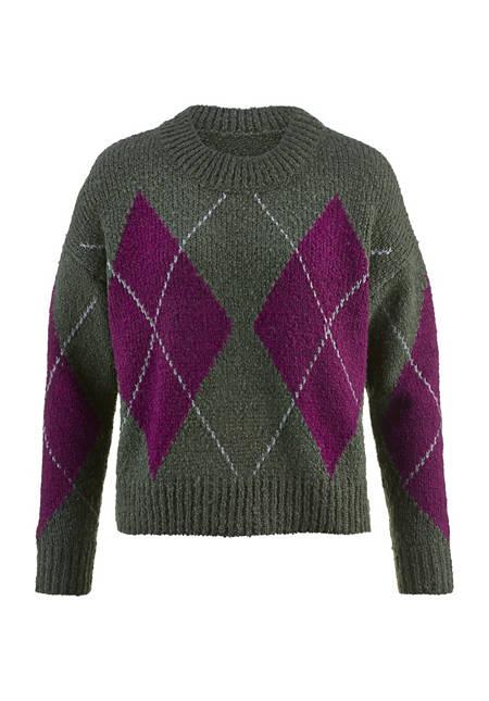Argyle sweater made of virgin wool with alpaca
