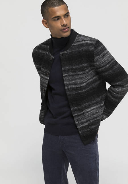 Boiled wool jacket made of organic new wool with organic cotton