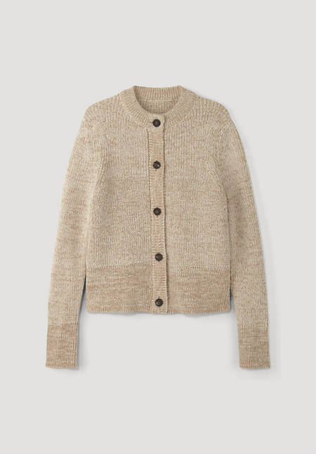 Cardigan made from undyed alpaca with colored organic cotton