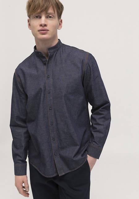 Comfort Fit denim shirt made of organic cotton with linen