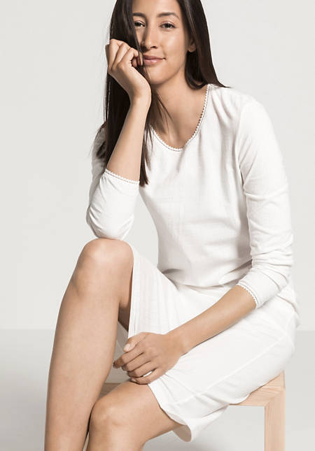 Damen Ajour-Nachthemd aus reiner Bio-Baumwolle