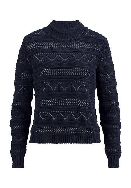 Damen Ajour-Pullover aus reiner Bio-Baumwolle