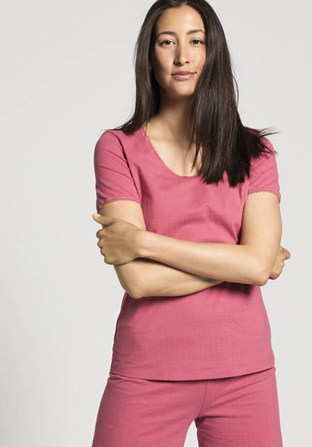Damen Ajour-Shirt Kurzarm aus reiner Bio-Baumwolle