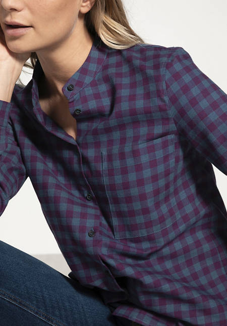 Damen Karo-Bluse aus reiner Bio-Baumwolle