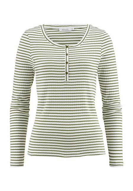 Damen Langarm-Ringelshirt aus reiner Bio-Baumwolle