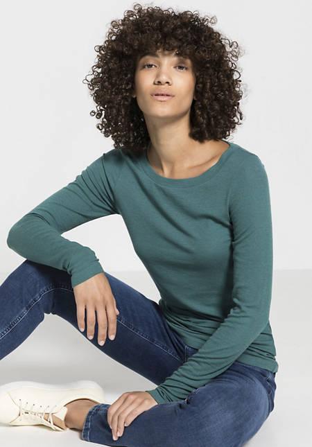 Damen Langarm-Shirt aus Modal mit Schurwolle