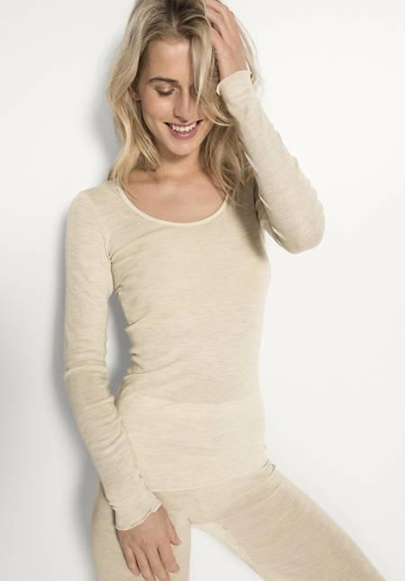Damen Langarmshirt PureWOMAN aus Bio-Merinowolle mit Seide