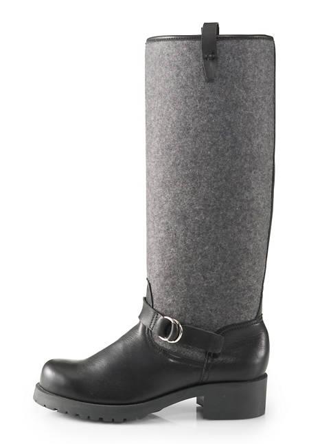 Damen Leder-Stiefel mit Wollfilz