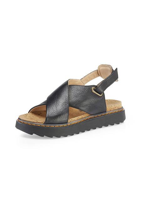 Damen Plateau-Sandale aus chromfrei gegerbtem Leder