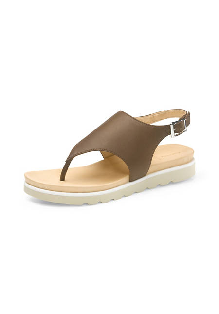 Damen Zehentrenner-Sandalette aus Leder