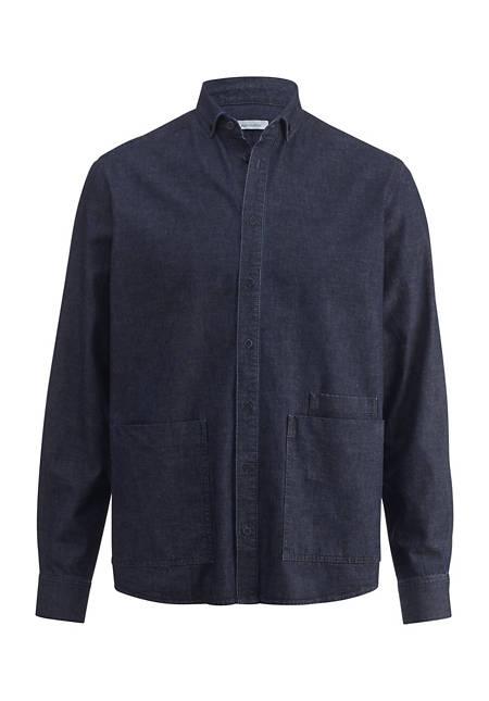 Denim-Overshirt aus Bio-Baumwolle mit Leinen