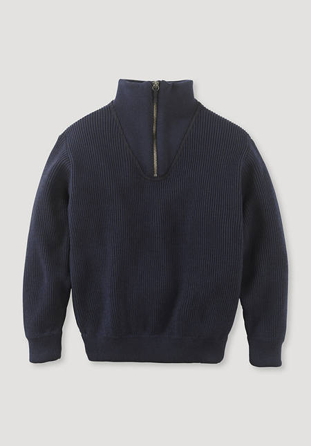 Double knit troyer made of merino wool with organic cotton