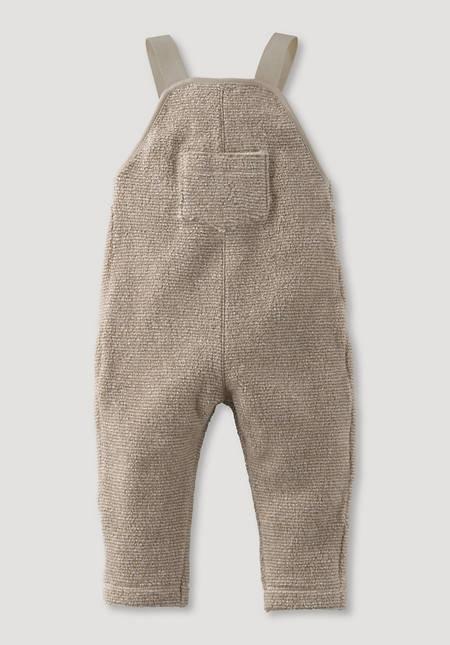 Fleece-Latzhose geringelt aus reiner Bio-Baumwolle