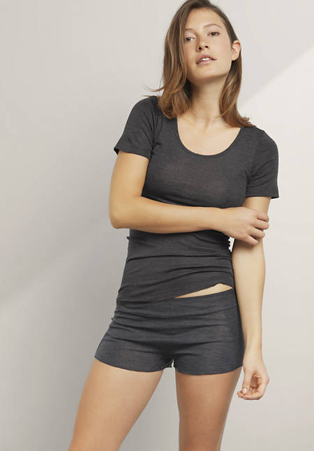 French-Shorts aus Bio-Merinowolle mit Seide