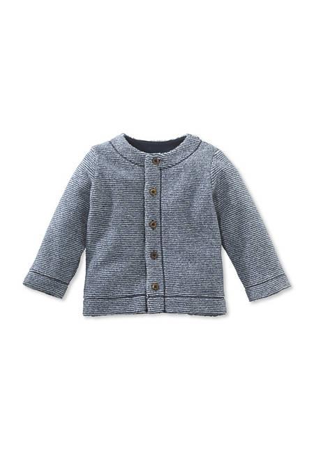Geringelte Fleece-Jacke aus reiner Bio-Baumwolle