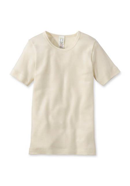Halbarm-Shirt aus Bio-Merinowolle mit Seide