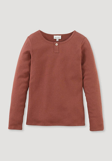 Henleyshirt aus Bio-Baumwolle mit Bio-Merinowolle