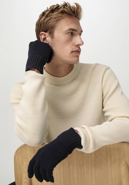 Herren Fingerhandschuhe aus Schurwolle mit Kaschmir