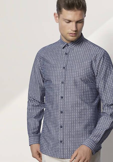 Herren Hemd Modern Fit aus Bio-Baumwolle mit Leinen
