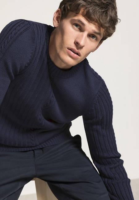 Herren Struktur-Pullover aus reiner Merinowolle