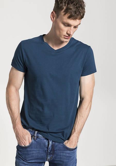 Herren V-Shirt aus Bio-Baumwolle und Merinowolle