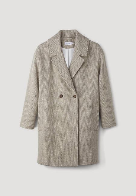 Herringbone coat made from pure merino wool