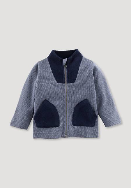 Jacket made of organic merino wool with organic cotton