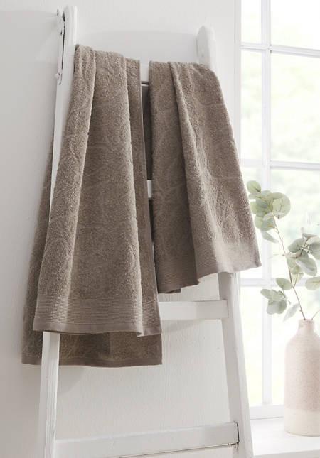 Jacquard-Handtuch aus Bio-Baumwolle mit Leinen
