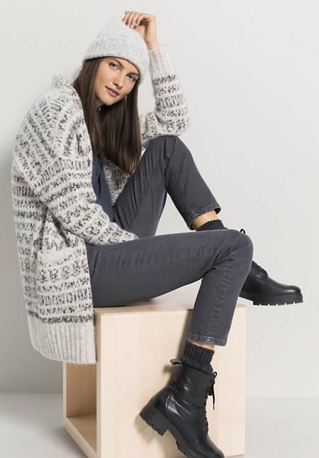 Jacquard-Strickjacke aus Alpaka mit Bio-Baumwolle
