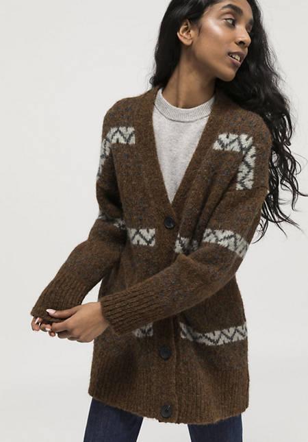 Jacquard-Strickjacke aus Alpaka mit Pima Baumwolle