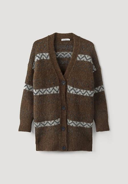 Jacquard cardigan made of alpaca with pima cotton