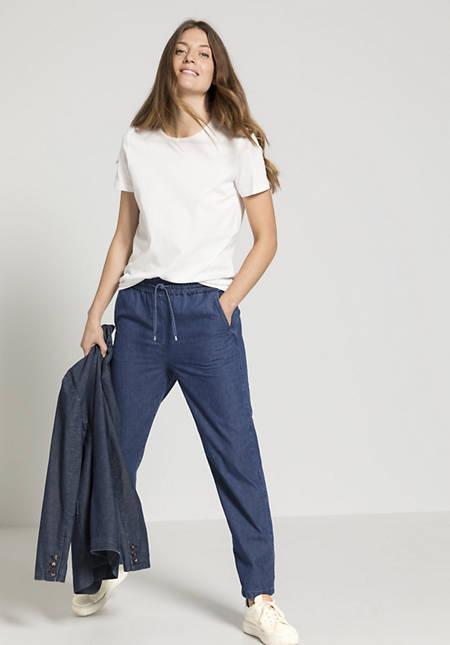 Jeans Joggpant aus Bio-Baumwolle mit Leinen