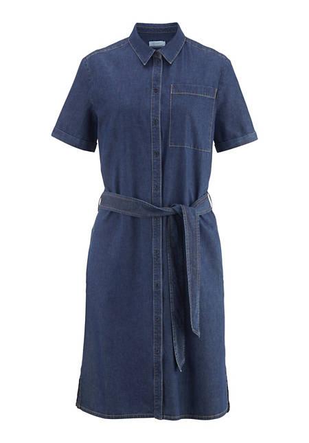 Jeans-Kleid aus Bio-Baumwolle mit Leinen