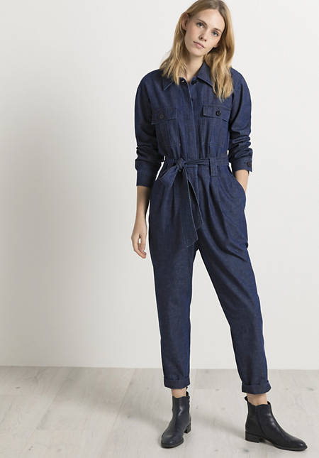 Jeans-Overall aus Bio-Baumwolle mit Leinen