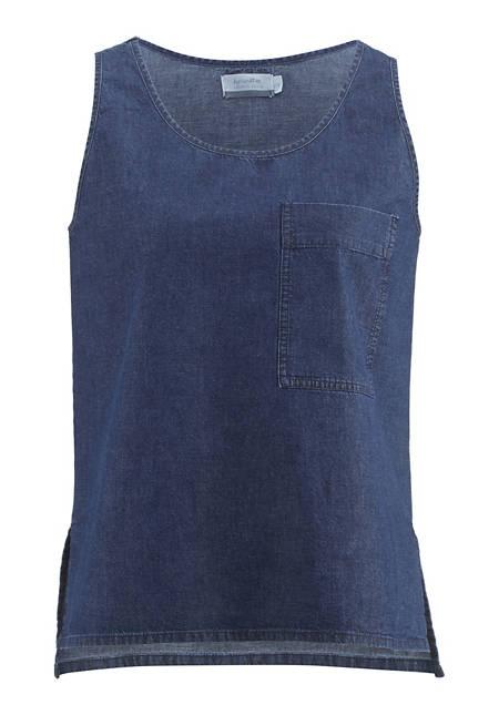 Jeans-Top aus Bio-Baumwolle mit Leinen