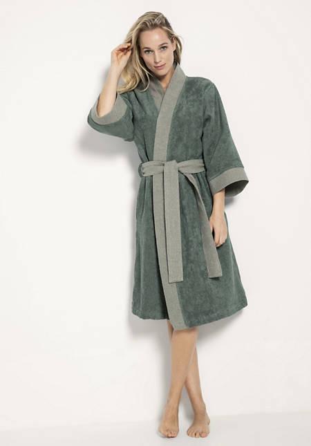 Kimono-Bademantel aus reiner Bio-Baumwolle
