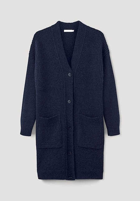Knit coat made of alpaca with silk and mohair