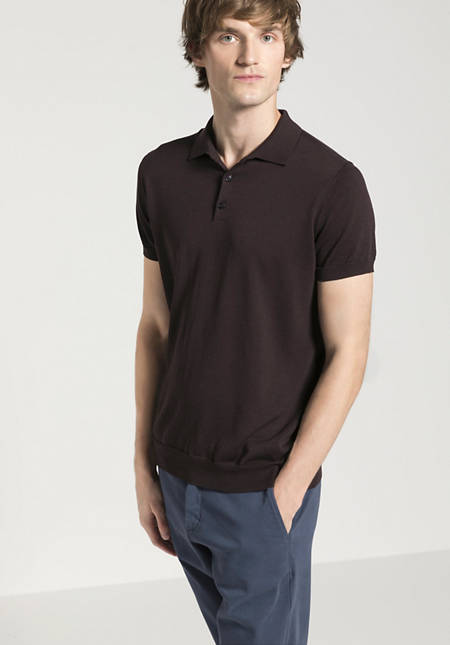 Knitted polo made of silk with cotton and linen